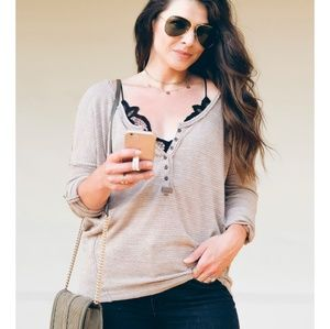 Free People We The Free Beach Haven Henley Tee